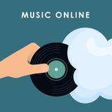 Progettazione grafica di musica online, illustrazione di vettore Fotografie Stock