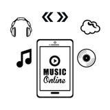 Progettazione grafica di musica online, illustrazione di vettore Immagine Stock Libera da Diritti