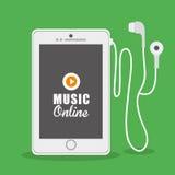 Progettazione grafica di musica online, illustrazione di vettore Immagini Stock