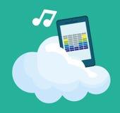 Progettazione grafica di musica online, illustrazione di vettore Fotografia Stock Libera da Diritti
