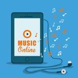 Progettazione grafica di musica online, illustrazione di vettore Fotografie Stock Libere da Diritti