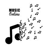 Progettazione grafica di musica online, illustrazione di vettore Fotografia Stock
