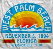 Progettazione grafica di vettore della maglietta dell'uomo di estate del Palm Beach Fotografia Stock Libera da Diritti