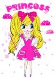 Progettazione grafica di vettore della maglietta di principessa Kids Girl Clothing Fotografia Stock Libera da Diritti