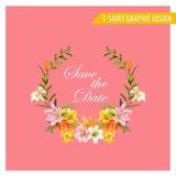Progettazione grafica floreale d'annata - estate Lily Flowers Immagini Stock