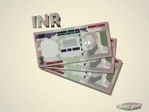 Progettazione grafica minima di vettore della carta dei soldi della rupia indiana Fotografia Stock Libera da Diritti