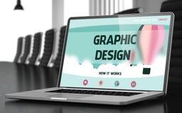 Progettazione grafica sul computer portatile in sala per conferenze 3d Fotografia Stock Libera da Diritti