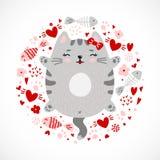 Progettazione grigia del gattino di smiley divertente di scarabocchio illustrazione di stock