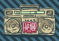 Progettazione hip-hop con un artificiere disegnato a mano del ghetto di Boombox Immagine di vettore royalty illustrazione gratis