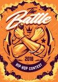 Progettazione hip-hop del manifesto di battaglia illustrazione di stock