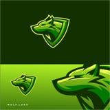 Progettazione impressionante di logo del lupo illustrazione vettoriale
