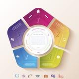 Progettazione infographic astratta con il cerchio e cinque segmenti Fotografia Stock