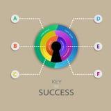 Progettazione infographic di affari per la chiave al concetto di successo Fotografia Stock Libera da Diritti