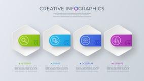 Progettazione infographic di vettore minimalista contemporaneo con il opti quattro illustrazione di stock