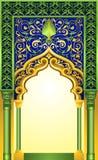 Progettazione islamica dell'arco nel colore elegante dell'oro e dello smeraldo con gli ornamenti floreali dettagliati di livello illustrazione vettoriale