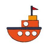 Progettazione isolata del giocattolo della nave Immagini Stock