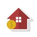 Progettazione isolata della moneta e della casa Fotografie Stock