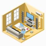 progettazione isometrica di un salone con un sofà, una tavola e un sistema della TV illustrazione vettoriale