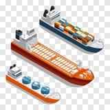 Progettazione isometrica moderna di vettore delle navi da carico Metta delle navi del trasporto isolate su fondo trasparente illustrazione vettoriale
