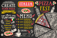 Progettazione italiana di vettore dell'alimento del menu della pizza illustrazione vettoriale