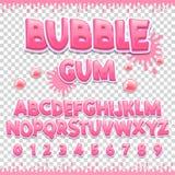 Progettazione latina della fonte di gomma da masticare Lettere e numeri dolci di ABC Alfabeto sveglio dei bambini Fotografie Stock