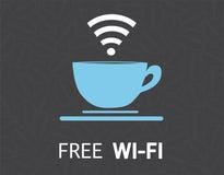 Progettazione libera dell'illustrazione di concetto della tazza da caffè di wifi Immagini Stock Libere da Diritti