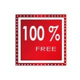 Progettazione libera sopra un fondo bianco, illustrazione dell'insegna di vendita 100% di vettore Fotografie Stock