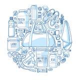Progettazione lineare rotonda dell'insegna circa gli sport per uno stile di vita sano Modello di nutrizione e dei supplementi di  royalty illustrazione gratis