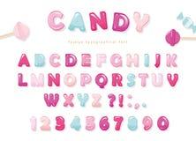 Progettazione lucida della fonte di Candy Lettere e numeri di ABC del blu e di rosa pastello Dolci per le ragazze Fotografie Stock