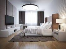 Progettazione luminosa della camera da letto contemporanea Fotografia Stock Libera da Diritti