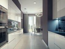 Progettazione luminosa della cucina Fotografie Stock
