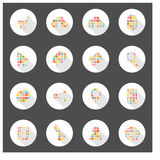 Progettazione lunga dell'ombra di web delle icone Fotografia Stock Libera da Diritti