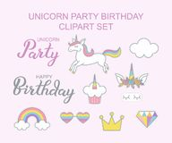 Progettazione magica stabilita di clipart di Unicorn Party Birthday illustrazione vettoriale