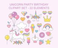 Progettazione magica stabilita di clipart di Unicorn Party Birthday illustrazione di stock