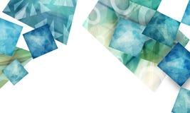 Progettazione materiale astratta con gli strati dei poligoni strutturati su fondo bianco illustrazione vettoriale