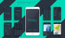 Progettazione materiale UI, schermi di UX per Apps mobile Immagine Stock