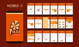 Progettazione materiale UI, UX e GUI per il cellulare Apps dell'alimento Fotografie Stock Libere da Diritti