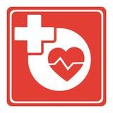 Progettazione medica di logo con le icone trasversali concetto di logo di sanità di logo del più Immagine Stock