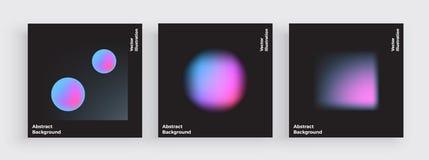 Progettazione minima della copertura, sfuocature di pendenza, coperture liquide di colore messe Forme fluide con i colori luminos royalty illustrazione gratis
