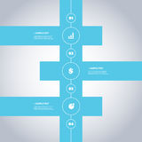 Progettazione minima di cronologia - elementi di Infographic con le icone Fotografie Stock