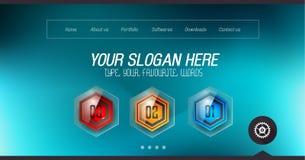 Progettazione minima di Home Page del sito Web con il fondo del cursore Immagini Stock Libere da Diritti