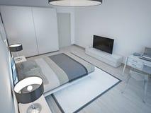 Progettazione minimalista della camera da letto grigio chiaro Immagini Stock