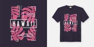 Progettazione moderna alla moda della maglietta e dell'abito delle Hawai con la l tropicale royalty illustrazione gratis
