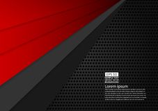 Progettazione moderna del fondo astratto geometrico di colore nero e rosso con l'illustrazione di vettore di spazio della copia Fotografie Stock