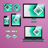 Progettazione moderna del modello di applicazione per l'identità corporativa Insieme della compressa e di telefono del computer Immagini Stock