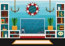 Progettazione moderna del salone con l'acquario illustrazione vettoriale