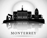 Progettazione moderna dell'orizzonte della città di Monterrey mexico Fotografie Stock