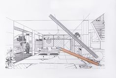 Progettazione moderna dell'ufficio, disegno dell'architetto Fotografie Stock