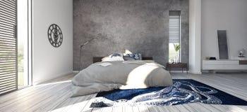 Progettazione moderna della camera da letto Fotografie Stock Libere da Diritti