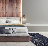 Progettazione moderna della camera da letto Fotografia Stock Libera da Diritti